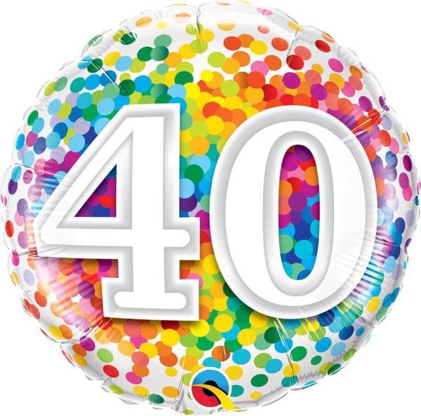 """Picture of Folienballon 18"""" """"40"""" RAINBOW CONFETTI"""