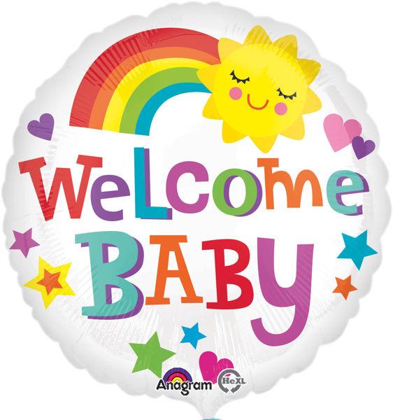 """Picture of Welcome Baby Regenbogen Folienballon 18"""""""
