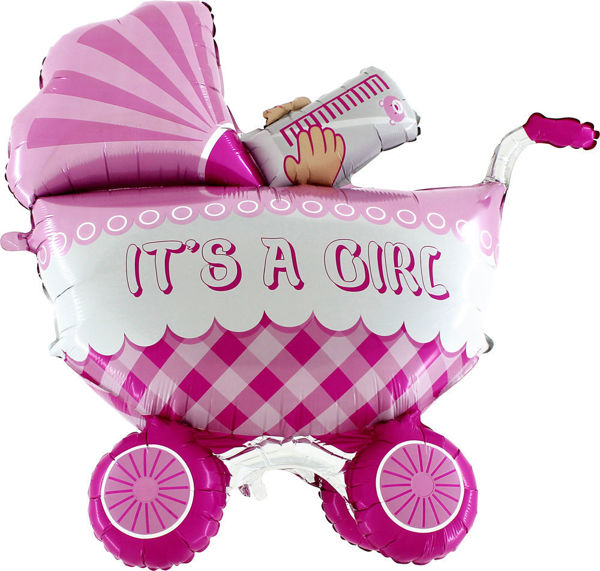 """Picture of It's a baby girl buggy Folienballon 42"""""""