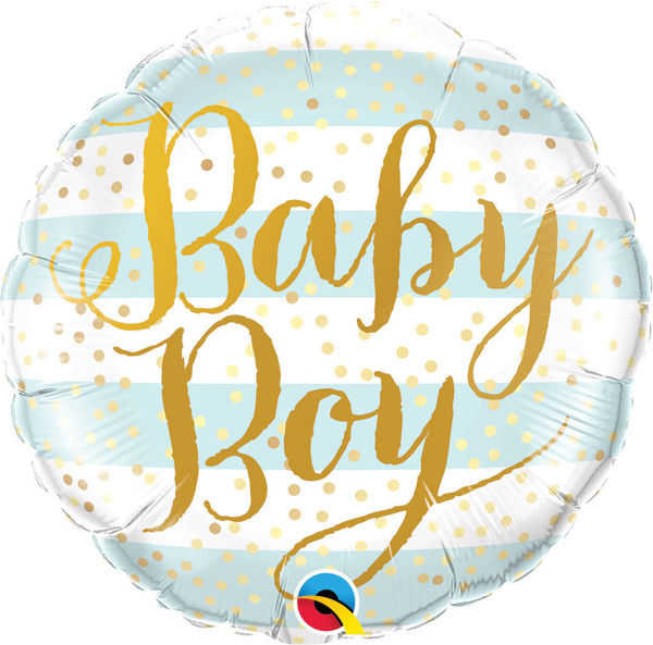 Picture of Baby Boy Blue Stripes Folienballon 18""