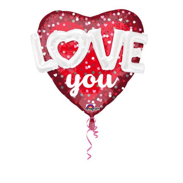 "Picture of 3D Folienballon 27"" ""LOVE YOU"""