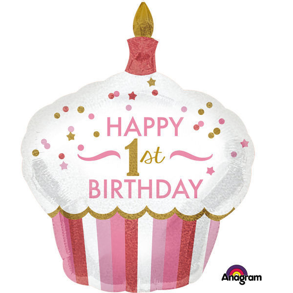 "Picture of SuperShape ""1st Birthday Cupcake - Mädchen"" Folienballon"