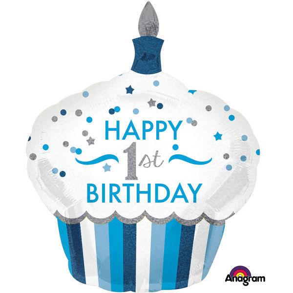 "Picture of SuperShape ""1st Birthday Cupcake - Junge"" Folienballon"