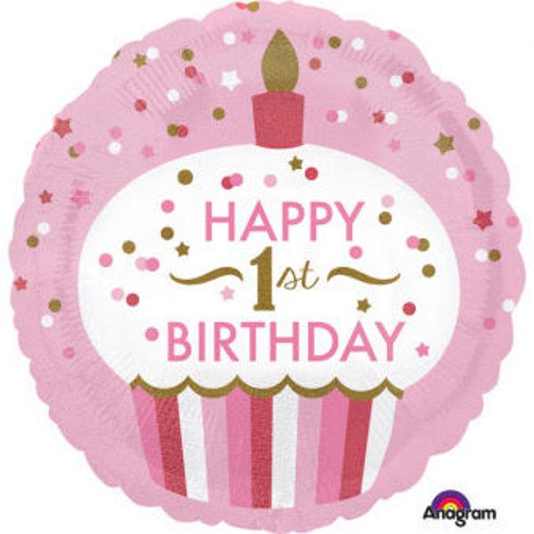 """Picture of """"1st Birthday Cupcake - Mädchen"""" Folienballon"""