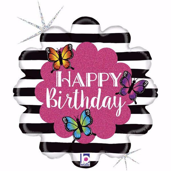 Picture of Folienballon Happy Birthday Schmetterlinge