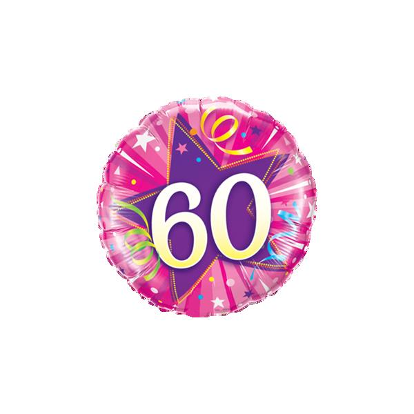 "Picture of 60 Shining Star Hot Pink Folienballon 18"""