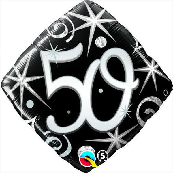 "Picture of ""50"" ELEGANT SPARKLES & SWIRLS Folienballon 18"""