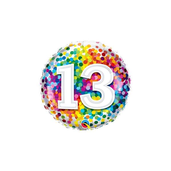 "Picture of 13 Rainbow Confetti Folienform Rund 18"""