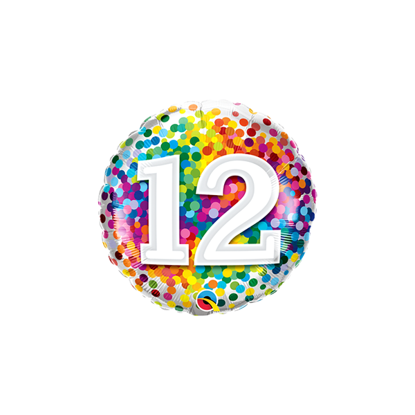 "Picture of 12 Rainbow Confetti Folienform Rund 18"""
