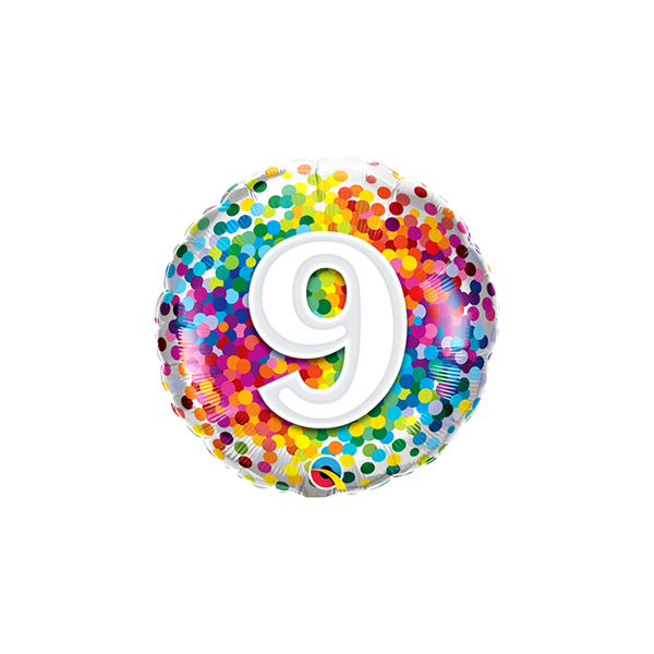 "Picture of 9 Rainbow Confetti Folienform Rund 18"""