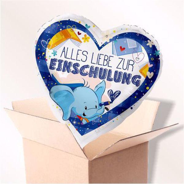 """Picture of Folienballon """"Alles Liebe zur Einschulung"""" Blau im Karton"""