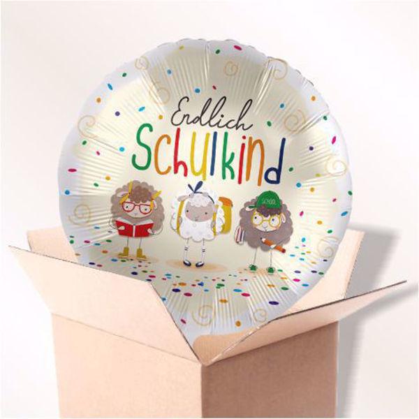 """Picture of Folienballon """"Endlich Schulkind"""" Schafe im Karton"""