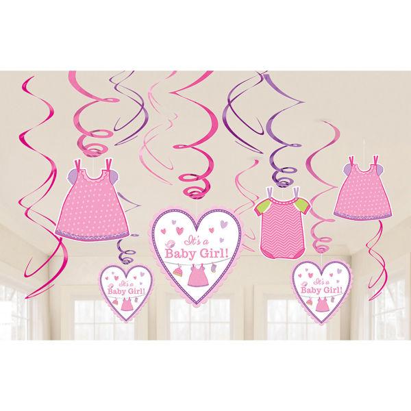Picture of 12 Deko-Spiralen Baby Shower With Love Girl