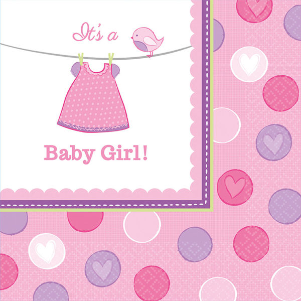 Picture of 16 Servietten groß Baby Shower With Love Girl