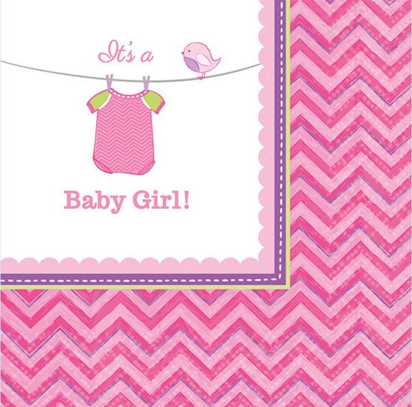 Picture of 16 Servietten klein Baby Shower With Love Girl