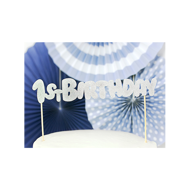Picture of 1 Cake Topper - 1st Birthday - Silber