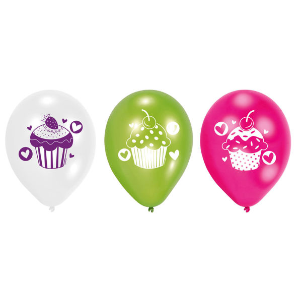 Picture of 6 Latexballons Cupcake