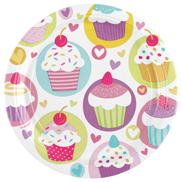Picture of 8 Teller Cupcake Papier klein rund
