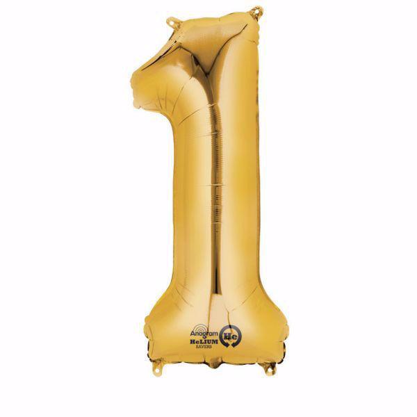 Picture of Folienballon 1 Gold Zahl XXL