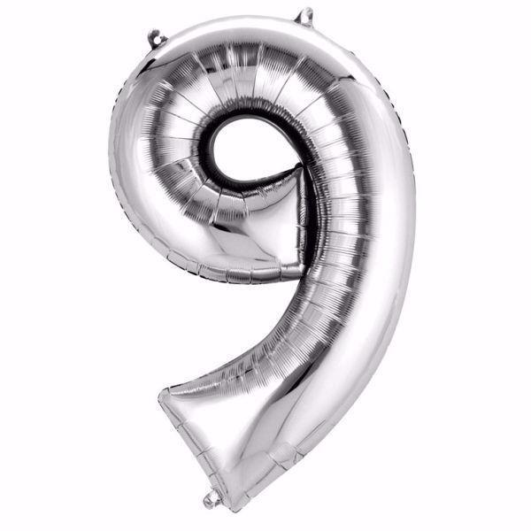 Picture of Folienballon 9 Silber Zahl XXL