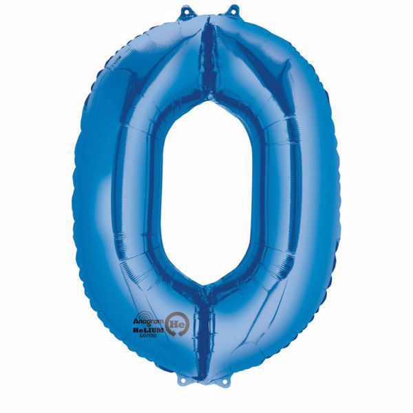 Picture of Folienballon 0 Blau Zahl XXL