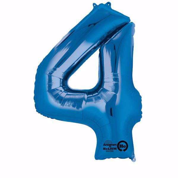Picture of Folienballon 4 Blau Zahl XXL