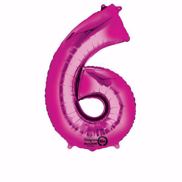 Picture of Folienballon 6 Pink Zahl XXL