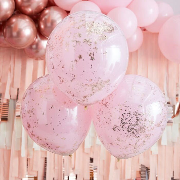 Picture of Pink und Rose Gold Konfetti Ballons 3er Set DO IT YOUSELF