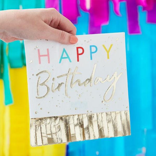 Picture of Happy Birthday Fransen Servietten