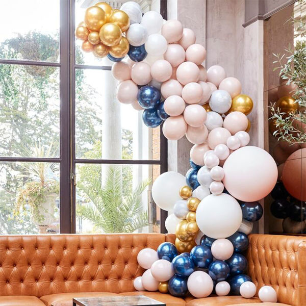 Picture of LUXE MARBLE, NAVY & GOLD CHROME Ballongirlanden Set