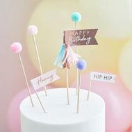 Picture of Pom Pom Happy Birthday Cake Topper