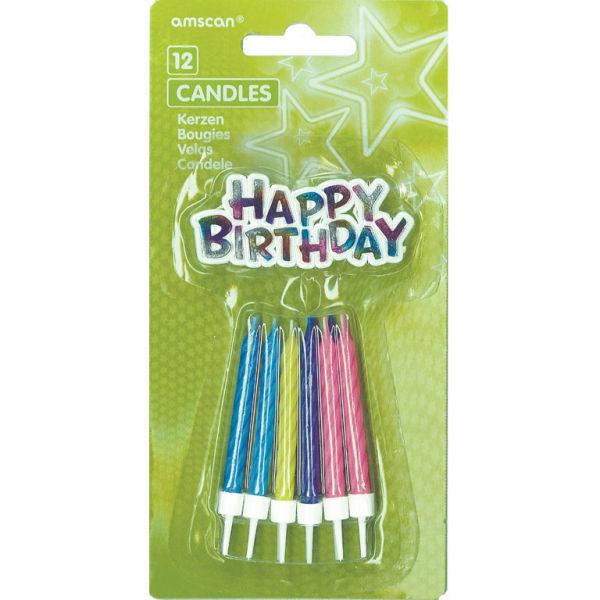 Picture of 12 Spiralkerzen Happy Birthday sortiert 6,3 cm